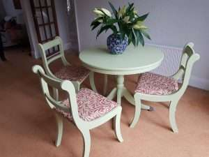 Painted 70's Mahogany Table & Chairs