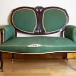 Art Nouveau two seater green couch, Circa 1910
